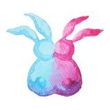 手拉逗人喜爱的夫妇兔子恋人的水彩绘 免版税图库摄影