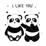 手拉逗人喜爱的熊猫 向量例证