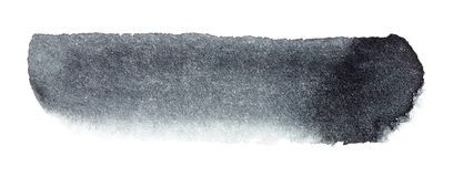 手拉黑水彩刷子的冲程 图库摄影