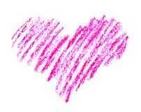 手拉,蜡笔在白色隔绝的心脏形状 库存图片