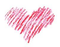 手拉,蜡笔在白色隔绝的心脏形状 库存照片