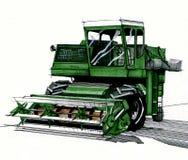 手拉绿色的收割机 免版税库存图片