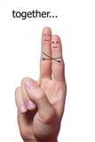 手指人拥抱 免版税图库摄影