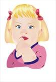 手指女孩她的放置的嘴 免版税库存照片