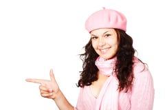 手指她的出头的女人 免版税库存图片