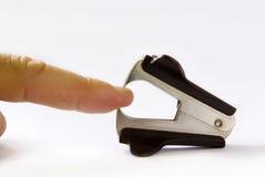 手指安全性被困住的工作 库存图片