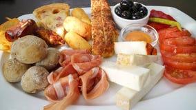 手指快餐,西班牙塔帕纤维布盛肉盘, 免版税图库摄影