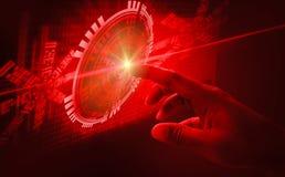 手指接触接口摘要概念,介入非常现代未来派技术和设计,当创新人类,创造 免版税库存图片