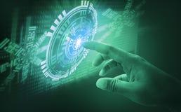 手指接触接口摘要概念,介入非常现代未来派技术和设计,当创新人类,创造 库存照片
