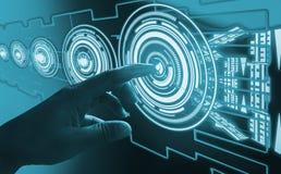 手指接触接口摘要概念,介入非常现代未来派技术和设计,当创新人类,创造 库存图片