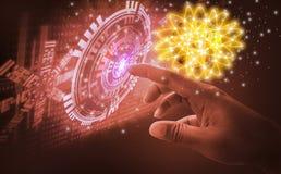 手指接触接口,介入非常现代未来派技术和设计,当创新人类,创造和开发 免版税库存照片