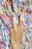 手指横渡了巴西巴西愿望丝带 库存照片