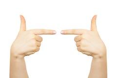 手指点在右边和左 免版税库存照片