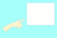 手指现有量对白色的指标点 免版税库存照片