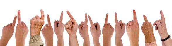 手指现有量指向 免版税库存照片