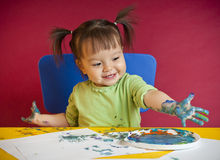 手指画法小孩 库存图片