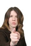 手指疯狂的出头的女人 库存照片
