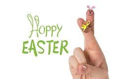 手指的综合图象当复活节兔子 向量例证