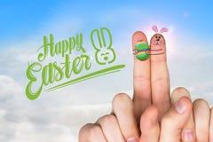 手指的综合图象当复活节兔子 图库摄影