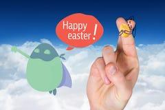 手指的综合图象当复活节兔子 库存照片