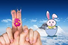 手指的综合图象当复活节兔子 免版税库存图片