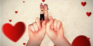 手指的综合图象横渡了象夫妇 免版税图库摄影