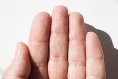手指皮肤纹理,指纹特写镜头 免版税库存照片