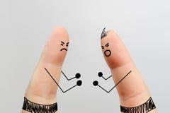 手指艺术,拳击赛 库存图片