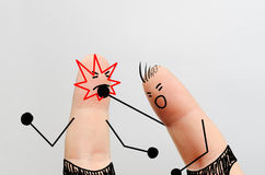 手指艺术,拳击赛 免版税库存图片