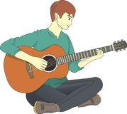 手指重点演奏锐利的吉他人 免版税库存照片