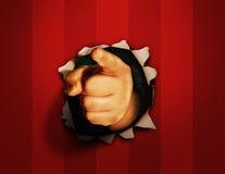 手指针对性的墙壁 库存图片