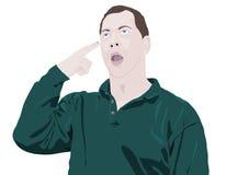 手指顶头人指向 向量例证