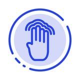 手指,四,姿态,接口,多轻拍蓝色虚线线象 向量例证