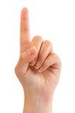 手指索引妇女 免版税库存照片