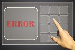 手按在触摸屏接口的一个按钮 库存照片