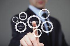 手按在触摸屏接口的商人成功按钮 事务,技术概念 免版税库存照片