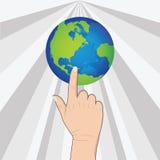手按地球 免版税图库摄影