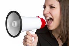 手提式扬声机妇女 免版税库存图片