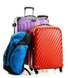 手提箱和背包在白色 免版税库存图片