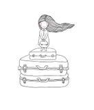 手提箱的美丽的小女孩 免版税库存图片