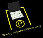 手提箱金钱停车处等待的投资机会例证 免版税库存照片