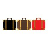 手提箱集合象 平的设计样式现代传染媒介例证 库存图片