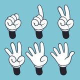 手数字 动画片手套的,手语棕榈两三手人一四个手指计数,传染媒介例证 库存例证