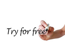 手文字尝试免费与黑标志 免版税库存图片