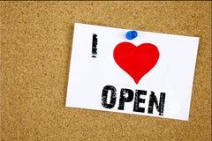 手文字文本说明启发陈列我爱开放在稠粘的笔记写的概念意思商店打开的爱,提示iso 库存照片