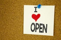 手文字文本说明启发陈列我爱开放在稠粘的笔记写的概念意思商店打开的爱,提示iso 库存图片