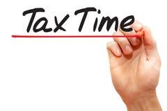 手文字税时间,企业概念 库存图片