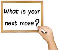 手文字询问接下来的步骤战略Whiteboard 免版税图库摄影