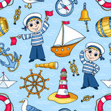 水手无缝的样式 库存照片