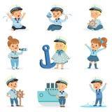 水手服装的小孩子作梦航行的海,使用与玩具可爱的漫画人物 向量例证